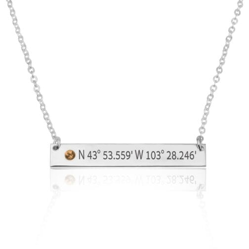 Coordinates Bar Necklace With Birthstone - Beleco Jewelry