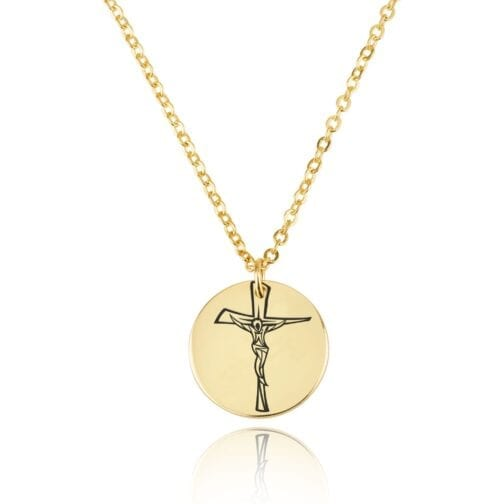 Cross Engraving Disc Necklace - Beleco Jewelry