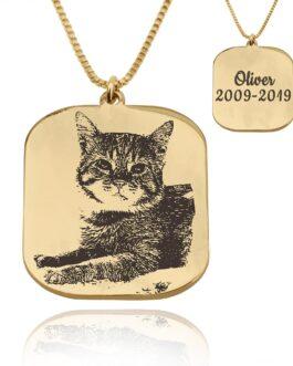 שרשרת חריטת תמונה בהתאמה אישית- מתנה לבעלי חתולים