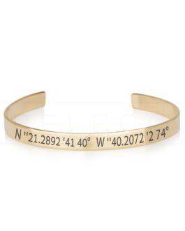 צמיד קשיח עם חריטת קו רוחב בציפוי זהב 18K