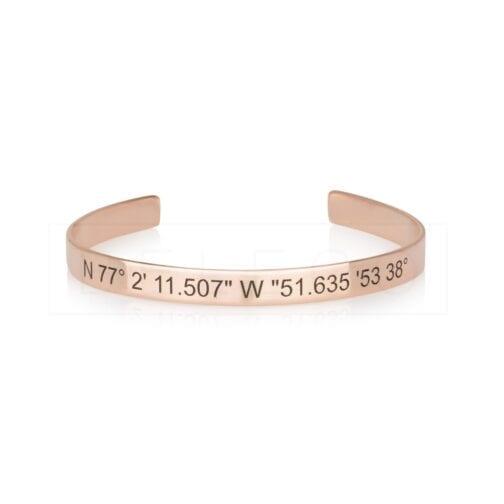 Custom Coordinates Cuff Bracelet - Beleco Jewelry