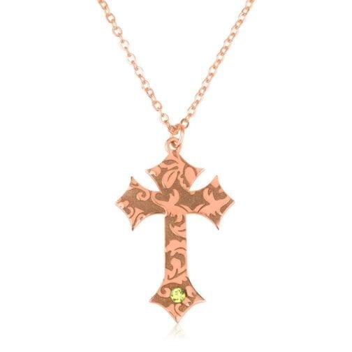 Custom Cross Necklace With Birthstone - Beleco Jewelry