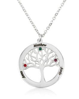 שרשרת עץ החיים בשילוב אבני לידה