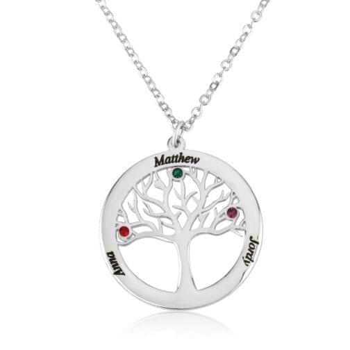 Custom Family Tree Necklace With Birthstones - Beleco Jewelry