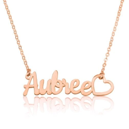 Custom Name Necklace With Heart - Beleco Jewelry