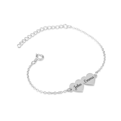 Custom Two Hearts Name Bracelet - Beleco Jewelry