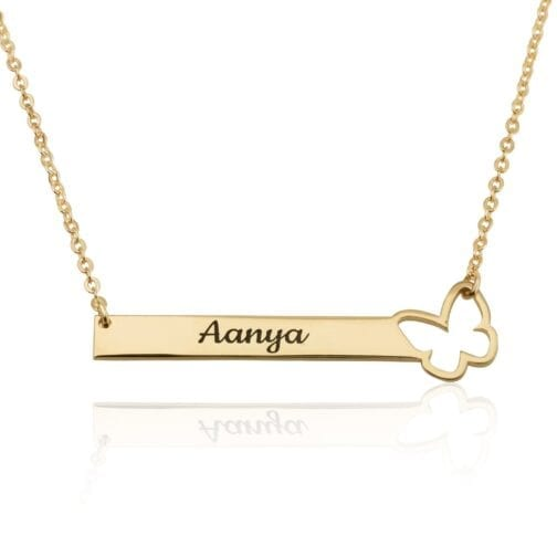 Customize Bar Necklace With Butterfly - Beleco Jewelry
