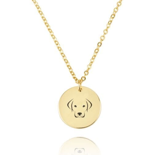 Dog Engraving Disc Necklace - Beleco Jewelry