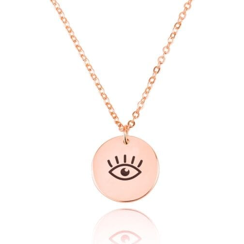 Evil Eye Engraving Disc Necklace - Beleco Jewelry