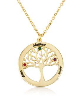 שרשרת עץ החיים עם חריטת שמות