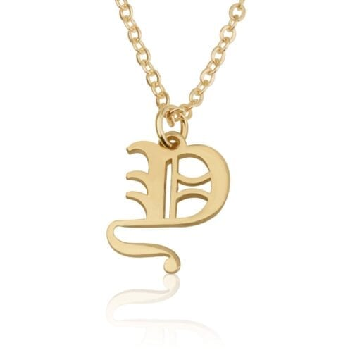 Gothic Font Initial Necklace - Beleco Jewelry