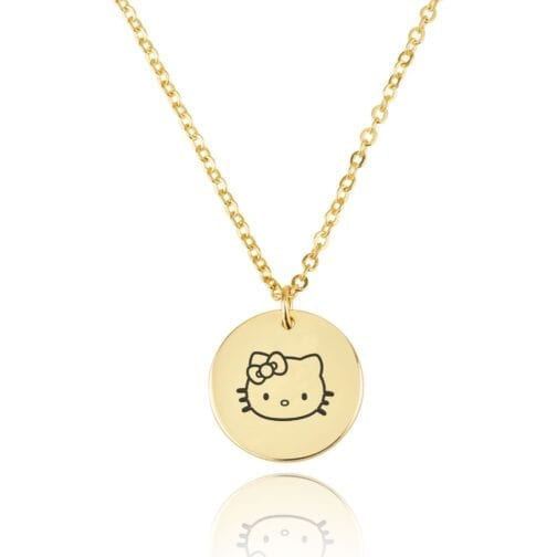Hello Kitty Engraving Disc Necklace - Beleco Jewelry