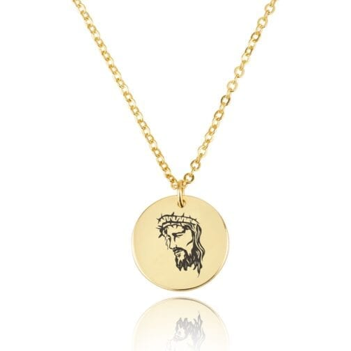 Jesus Engraving Disc Necklace - Beleco Jewelry