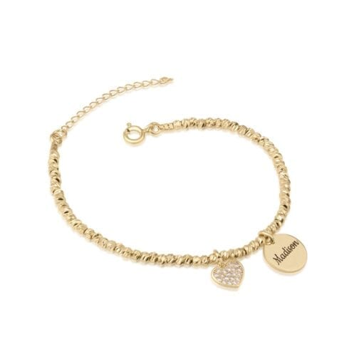 Laser Beads Bracelet With Heart & Customize Name - Beleco Jewelry