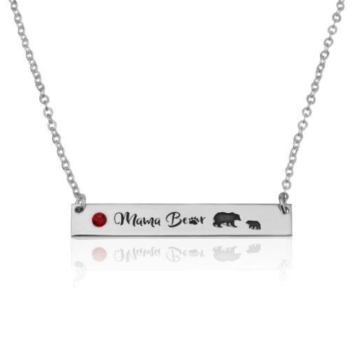 Mama Bear Necklace With Swarovski Birthstone - Beleco Jewelry