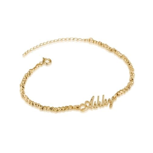 Nameplate Bracelet With Laser Beads - Beleco Jewelry