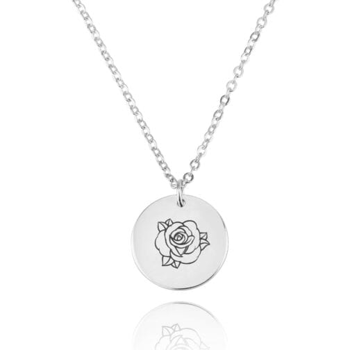 Rose Medallion Engraving Disc Necklace - Beleco Jewelry