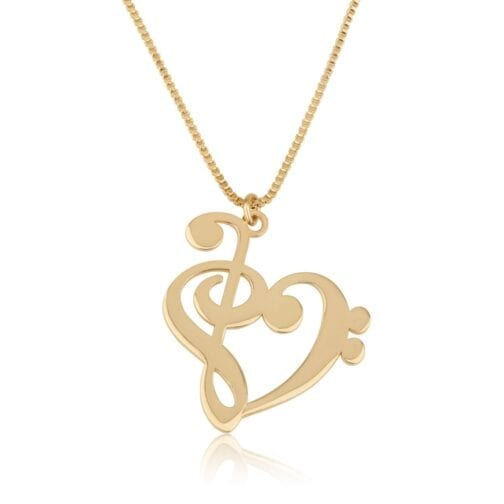 Treble Clef Bass Clef Necklace - Beleco Jewelry