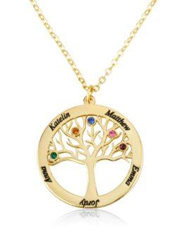 שרשרת עץ החיים עם שמות ואבני לידה