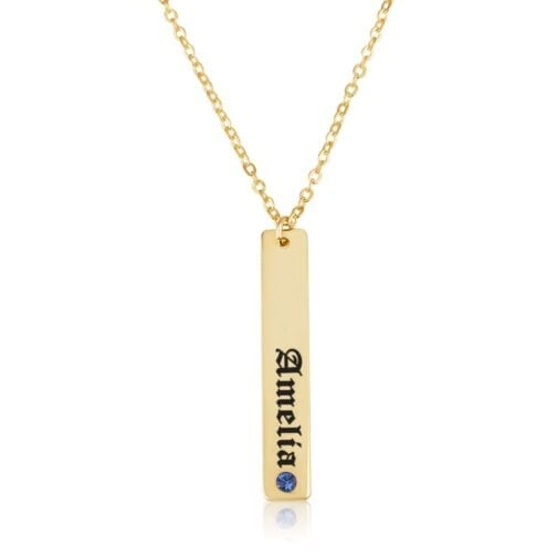 Vertical Bar Necklace With Engraving - Beleco Jewelry