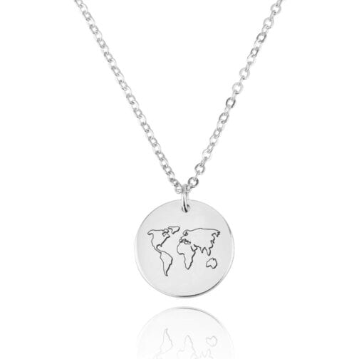 World Map Engraving Disc Necklace - Beleco Jewelry